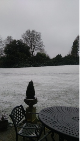 Ludshott Manor lawn with snow
